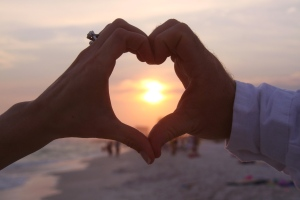 Wedding sunset with heart