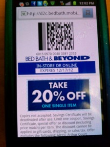 Mobile coupon for Bed Bath & Beyond
